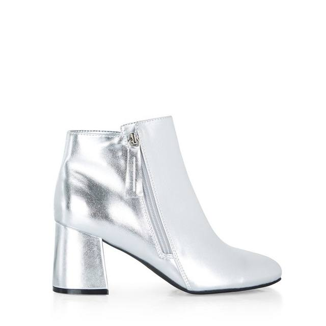 metallic flared heel ankle boots endource