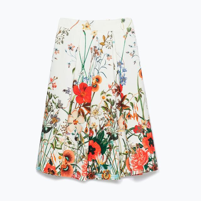 Pleated Floral Print Skirt Endource