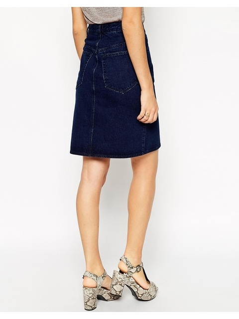 a547d71fe8 Polly Denim A-line Button Through Midi Skirt | Endource