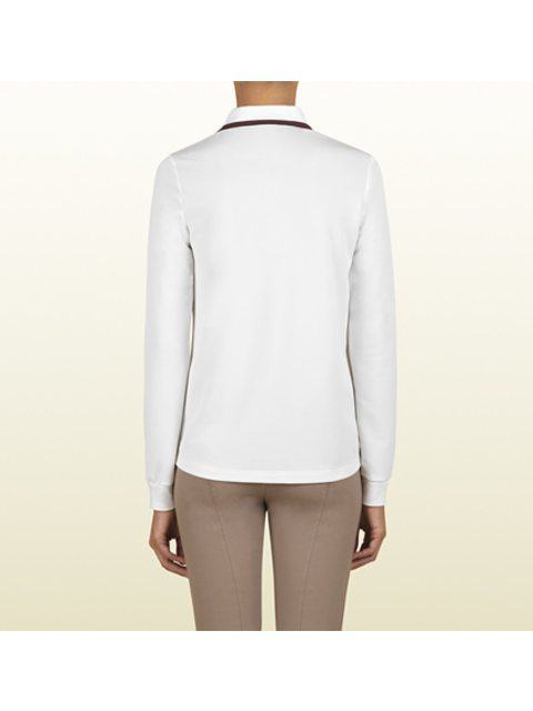 74cc3db1156 White Long Sleeve Polo With Gucci Crest From Equestrian Collection ...