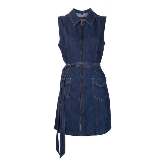 7bbe9bf6e6 Belted Zip-Front Denim Dress