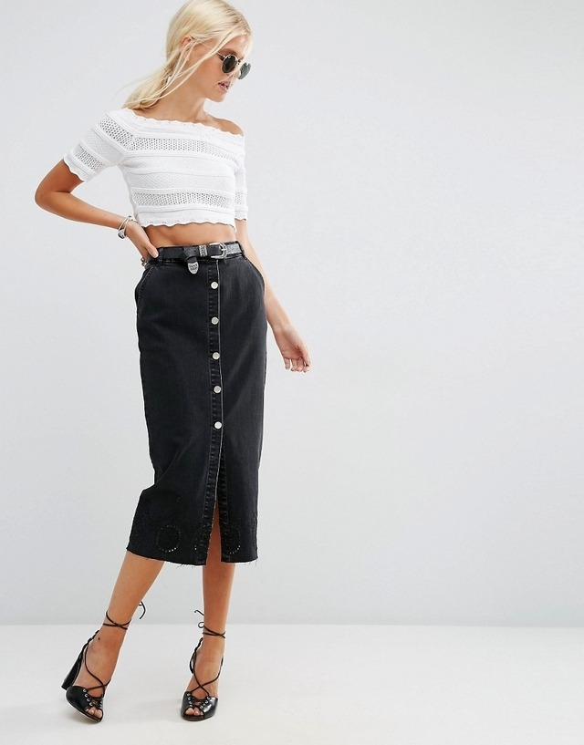 Denim Button Through Midi Skirt | Endource