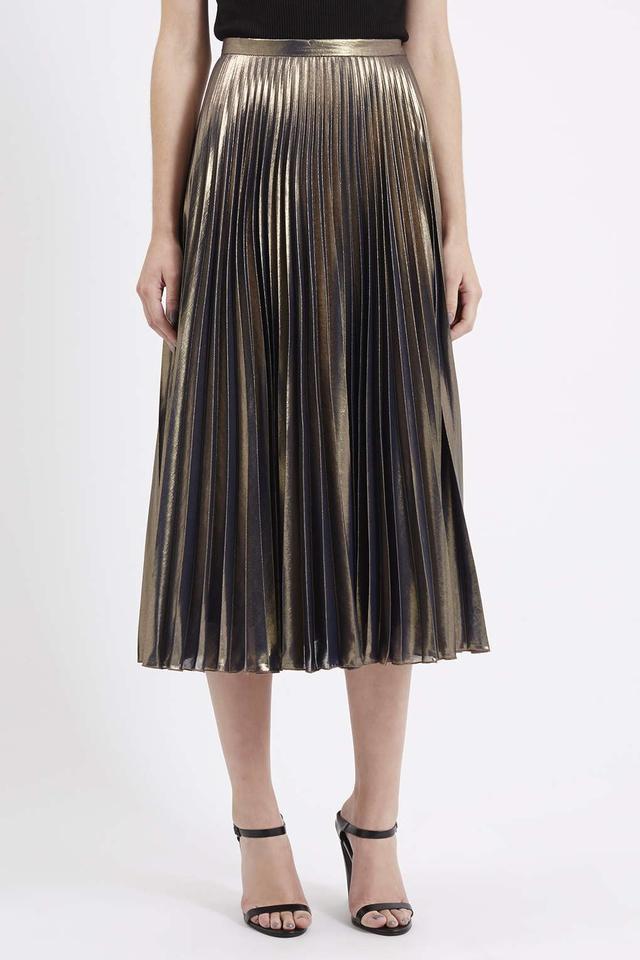 metallic pleated midi skirt endource