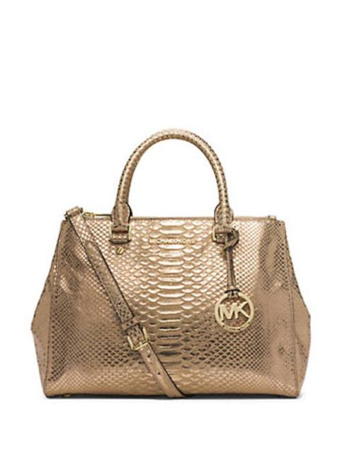 c310a5f6be6f MK Sutton Medium Embossed Python Pattern Leather Satchel Bag | Endource