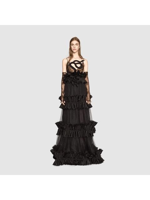 dbdf9efd276 Snake Embroidered Tulle Gown