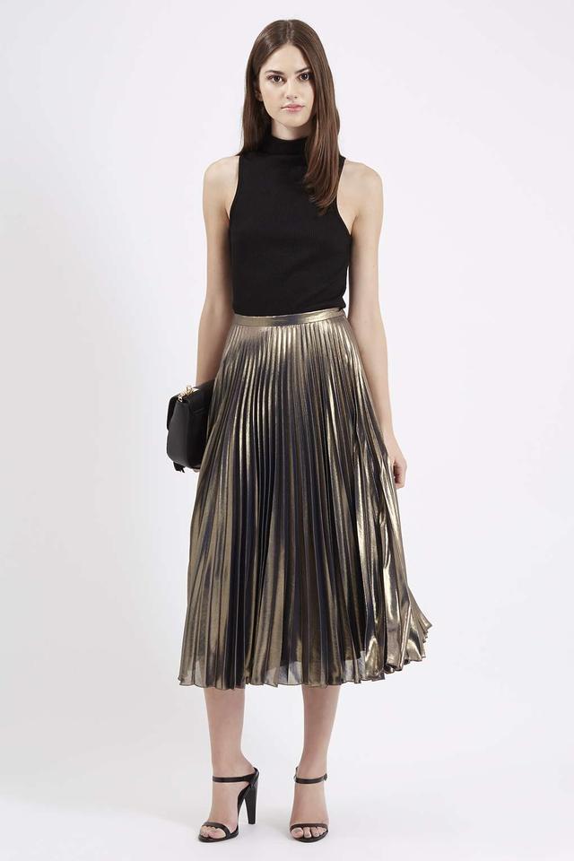 Metallic Pleated Midi Skirt | Endource