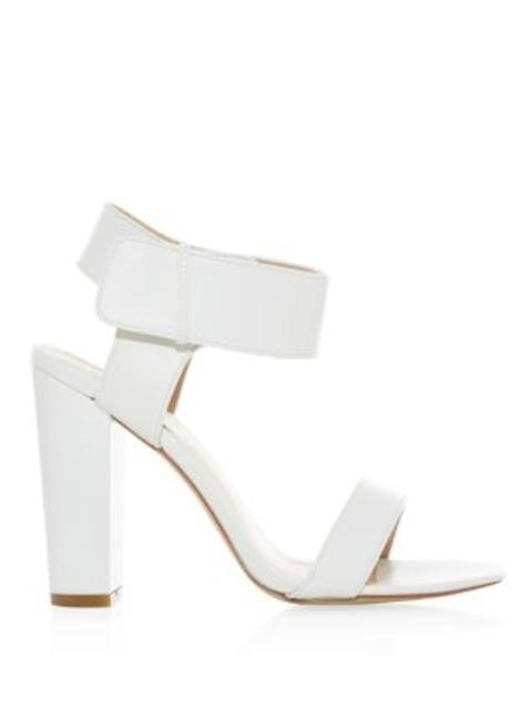a1df316fdd White Ankle Strap Block Heel Open Toe Sandals | Endource